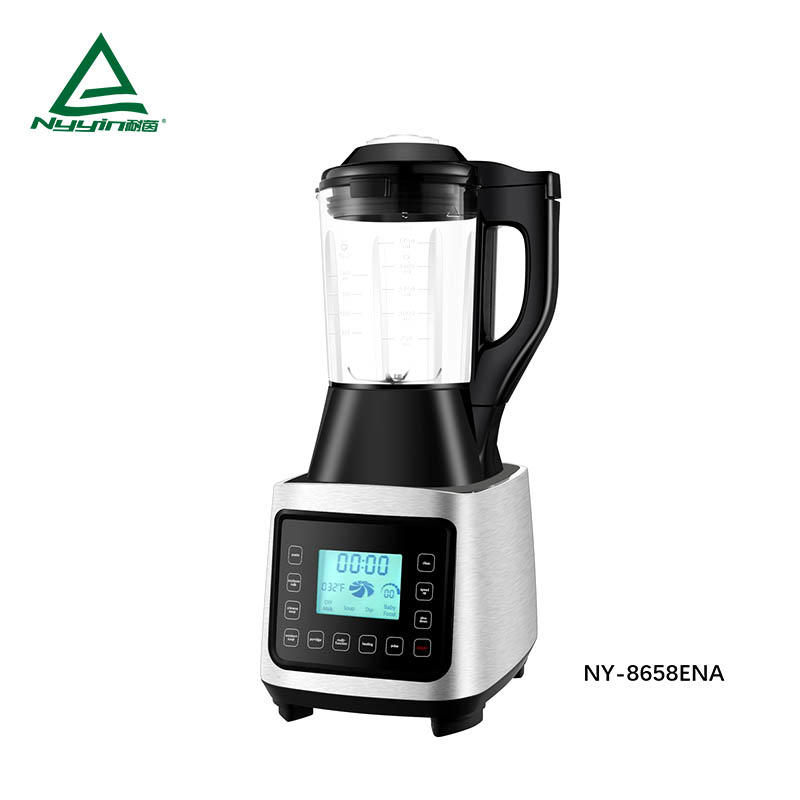 Motor power, 800W heater power quiet soup maker Soup maket with 1.75L High borosilicate glass jar, LCD display, Touch control, 6 pre-programmed presets, Aluminum die cast housing 2000W 1400W NY-8658EXA